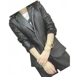 Womens Casual Outwear Real Sheepskin Black Leather Blazer Coat With Pants