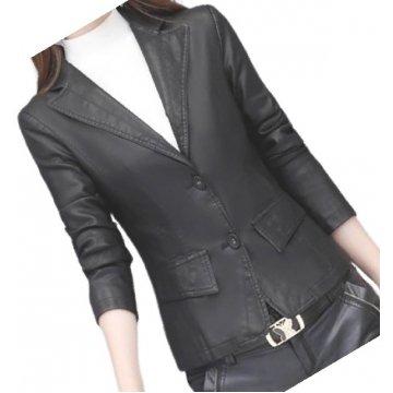 Womens Classic Real Sheepskin Black Leather Blazer Coat