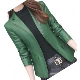 Womens Classic Real Sheepskin Green Leather Blazer Coat