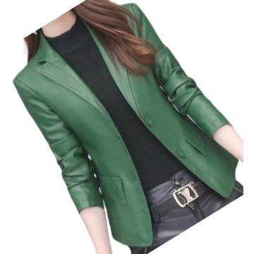 Womens Classic Real Sheepskin Green Leather Blazer Coat