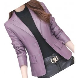 Womens Classic Real Sheepskin Purple Leather Blazer Coat