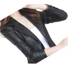 Womens Designer Real Sheepskin Black Leather Blazer Coat