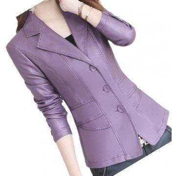 Womens Designer Real Sheepskin Purple Leather Blazer Coat