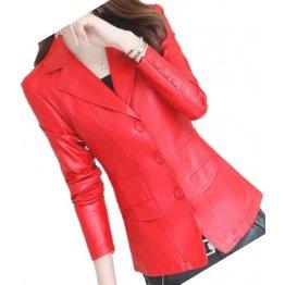 Womens Designer Real Sheepskin Red Leather Blazer Coat