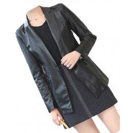 Womens Smart Look Real Sheepskin Black Leather Blazer Coat