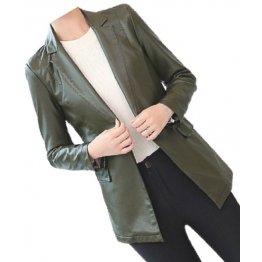 Womens Smart Look Real Sheepskin Olive Green Leather Blazer Coat