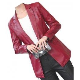 Womens Smart Look Real Sheepskin Red Leather Blazer Coat