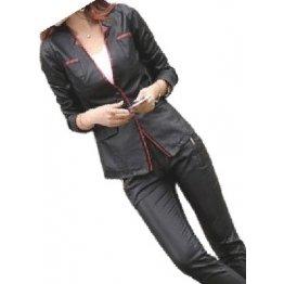 Womens Trendsetting Design Real Sheepskin Black Leather Blazer Coat