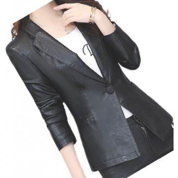 Womens Trendy Real Sheepskin Black Leather Blazer Coat