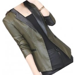 Womens Trendy Real Sheepskin Olive Green Leather Blazer Coat