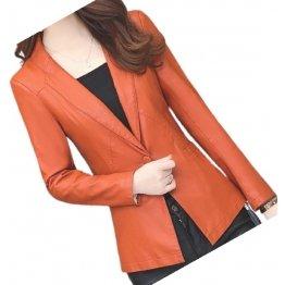 Womens Trendy Real Sheepskin Orange Leather Blazer Coat