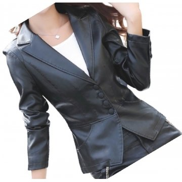 Womens Unique Look Real Lambskin Black Leather Blazer Coat