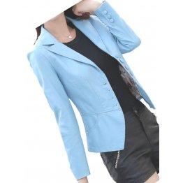 Womens Unique Look Real Lambskin Blue Leather Blazer Coat