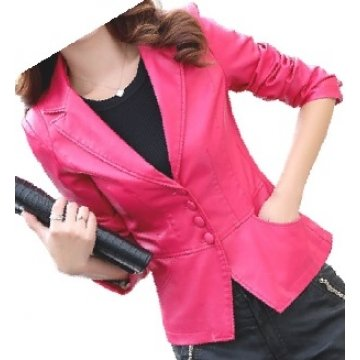 Womens Unique Look Real Lambskin Pink Leather Blazer Coat
