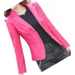Womens Unique Look Real Lambskin Pink Leather Blazer Coat