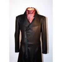Mens Embossed Real Sheepskin Black Leather Trench Coat