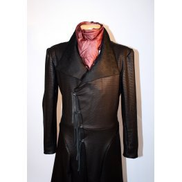 Womens Embossed Real Sheepskin Black Leather Trench Coat