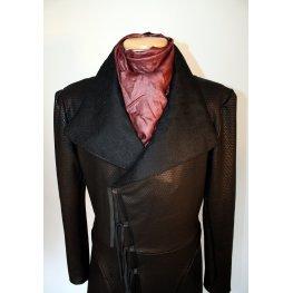 Mens Embossed Real Sheepskin Black Leather Trench Coat