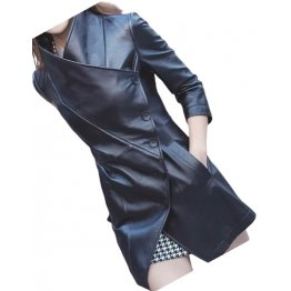 Womens Asymmetrical Front Genuine Sheepskin Black Long Leather Trench Coat