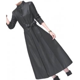 Womens Beautiful Design Real Lambskin Black Long Leather Trench Coat
