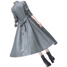 Womens Beautiful Design Real Lambskin Gray Long Leather Trench Coat