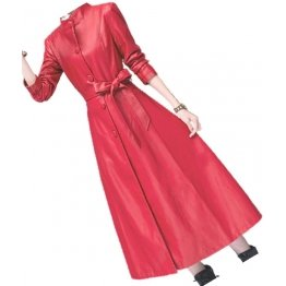 Womens Beautiful Design Real Lambskin Red Long Leather Trench Coat