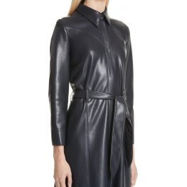 Womens Belted Real Sheepskin Black Leather Maxi Dress