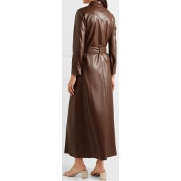 Womens Belted Real Sheepskin Brown Leather Maxi Dress