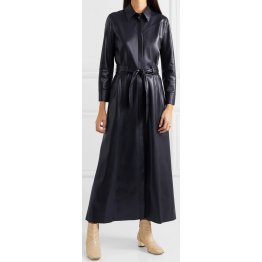Womens Belted Real Sheepskin Navy Blue Leather Maxi Dress