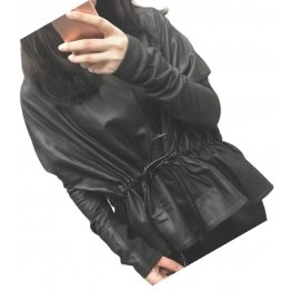 Womens Classic Design Genuine Sheepskin Black Leather Coat
