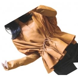 Womens Classic Design Genuine Sheepskin Brown Leather Coat