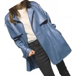 Womens Classic Street Wear Genuine Sheepskin Blue Long Leather Trench Coat Jacket