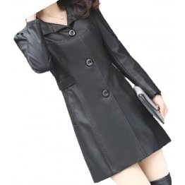 Womens Cool Fashion Real Lambskin Black Long Leather Trench Coat