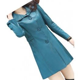 Womens Cool Fashion Real Lambskin Blue Long Leather Trench Coat