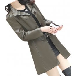 Womens Cool Fashion Real Lambskin Brown Long Leather Trench Coat