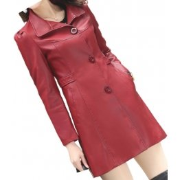 Womens Cool Fashion Real Lambskin Red Long Leather Trench Coat