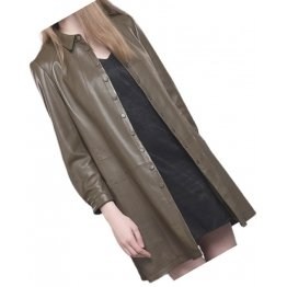 Womens Dashing Genuine Sheepskin Brown Long Leather Trench Coat