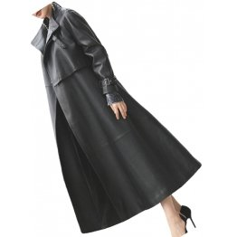 Womens Designer Real Lambskin Black Long Leather Trench Coat