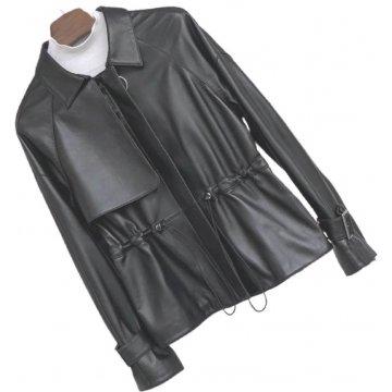 Womens Distinctive Style Genuine Sheepskin Black Leather Jacket Coat