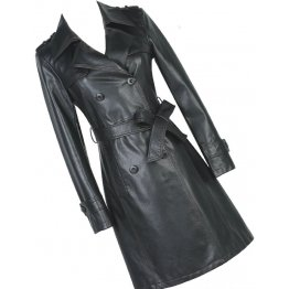 Womens Double Breasted Real Lambskin Black Long Leather Trench Coat