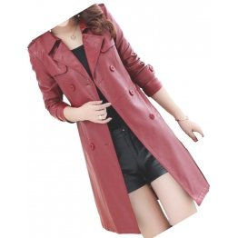 Womens Double Breasted Real Lambskin Burgundy Long Leather Trench Coat