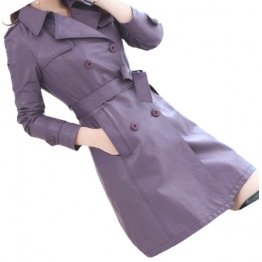 Womens Double Breasted Real Lambskin Purple Long Leather Trench Coat