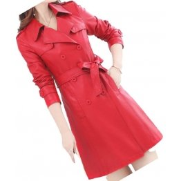 Womens Double Breasted Real Lambskin Red Long Leather Trench Coat