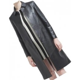 Womens Edgy Genuine Sheepskin Black Long Leather Trench Coat