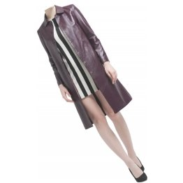 Womens Edgy Genuine Sheepskin Burgundy Long Leather Trench Coat