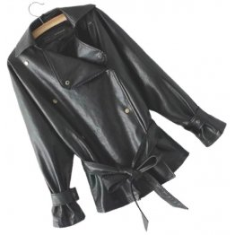 Womens Elegant New Fashion Genuine Sheepskin Black Leather Jacket Coat