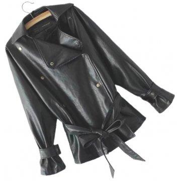 Womens Elegant New Fashion Genuine Sheepskin Black Leather Jacket Coat