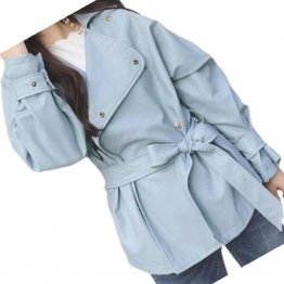 Womens Elegant New Fashion Genuine Sheepskin Blue Leather Jacket Coat
