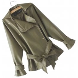 Womens Elegant New Fashion Genuine Sheepskin Olive Green Leather Jacket Coat