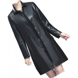 Womens Elegant Real Lambskin Black Long Leather Trench Coat